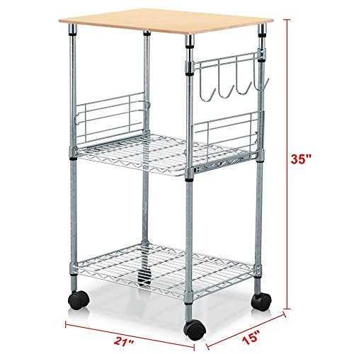 Topeakmart Chrome Steel Wire Rolling Kitchen Cart Utility