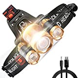 Led Headlamp Rechargeable Head Lamp Waterproof Dimmable USB Batteries Bright Headlight 3000 Lumens Flashlight for Outdoor Camping Hunting Fishing Cycling Running Sports Adventure