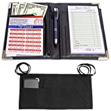 MaryOnArt Waiter Server Book and Apron - Waitress Book 8.2''x5.2'' Guest Check Zipper Pouch - Server Wallet Pads Holder Money Pocket Restaurant Waitstaff with Free Waist Apron Black and One Tip Chart
