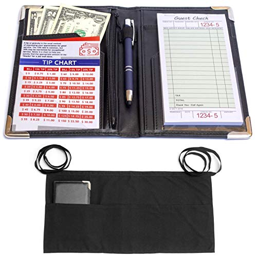 (MaryOnArt Waiter Server Book and Apron - Waitress Book 8.2''x5.2'' Guest Check Zipper Pouch - Server Wallet Pads Holder Money Pocket Restaurant Waitstaff with Free Waist Apron Black and One Tip Chart)