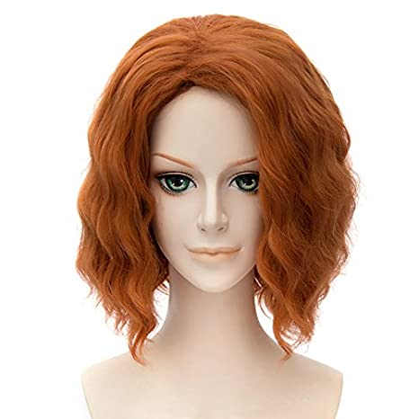 Falamka los Vengadores Black Widow disfraz peluca naranja Rubio Corto Rizado Mujeres Peluca