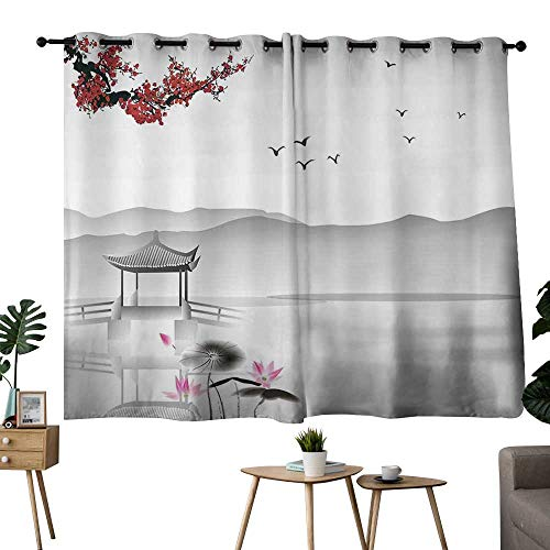 NUOMANAN Bedroom Curtain Asian,Japanese Asian Style Garden Bird and Small Pavilion Over The Lake Lotus Waterlily,Grey Pink Red,Complete Darkness, Noise Reducing Curtain 42