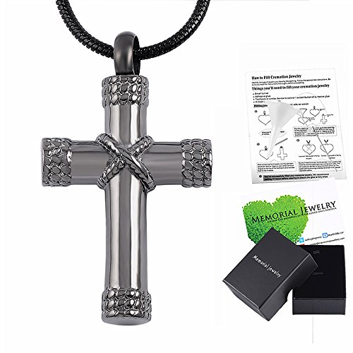 Memorial Jewelry Rope Winding Cross Memorial Keepsake Jewelry Lord's Prayer Cross Urn Pendant (Cross Prayer Locket)
