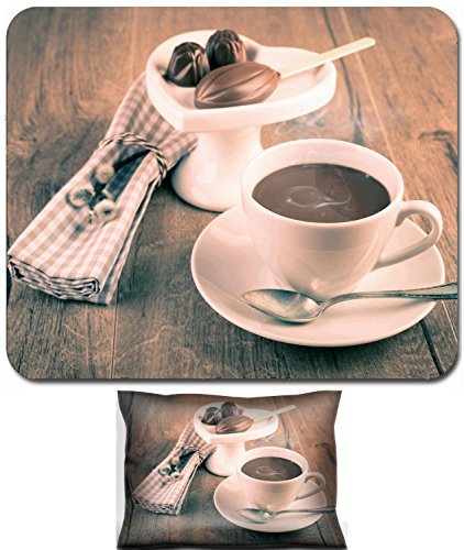 Luxlady Mouse Wrist Rest and Small Mousepad Set, 2pc Wrist Support design IMAGE: 26785199 Cup of hot chocolate chocolate pralines and stick of soluble chocolate on wooden surface tinted imate ()