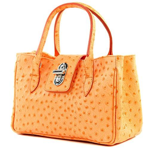 modamoda de - Made in Italy - Bolso de piel para mujer pequeño, diseño tipo piel de cocodrilo Strauß Orange