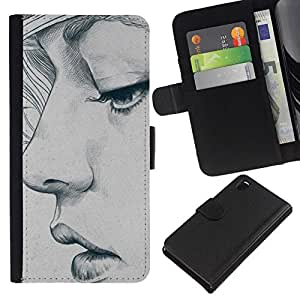 All Phone Most Case / Oferta Especial Cáscara Funda de cuero Monedero Cubierta de proteccion Caso / Wallet Case for Sony Xperia Z3 D6603 // la mujer del retrato del bosquejo del arte depresión