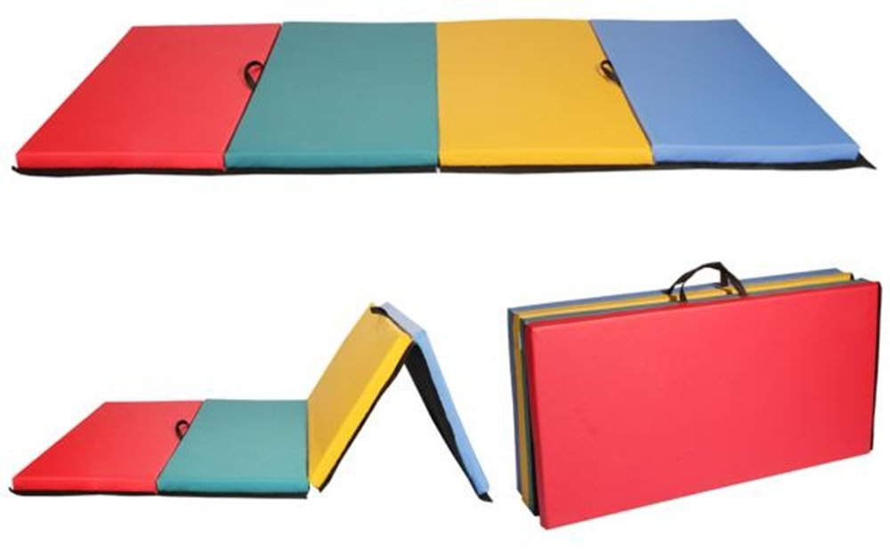 Multi-Color PU- Leather Exercise Pad Folding Panel Thick Gymnastics Mat by DTOFREE