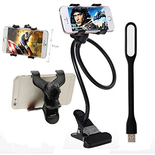 ICEBERG MAKERS Premium Metal Universal Flexible Long Arm Mobile Holder Stand and USB Led Light [Colour may vary]