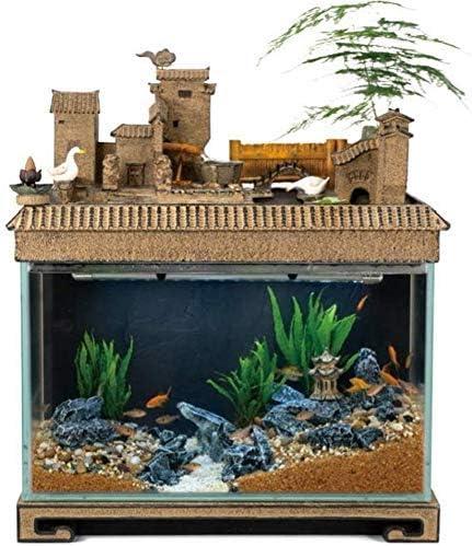 水槽の装飾デスク水族館テーブル水槽の室内装飾加湿自然の風景家の装飾屋内噴水(サイズ:54x32x62cm)