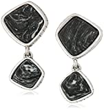 The SAK Semi-preciousDouble Stone Black/Silver Clip-On Earrings