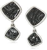 The SAK Semi-preciousDouble Stone Black/Silver Clip-On Earrings