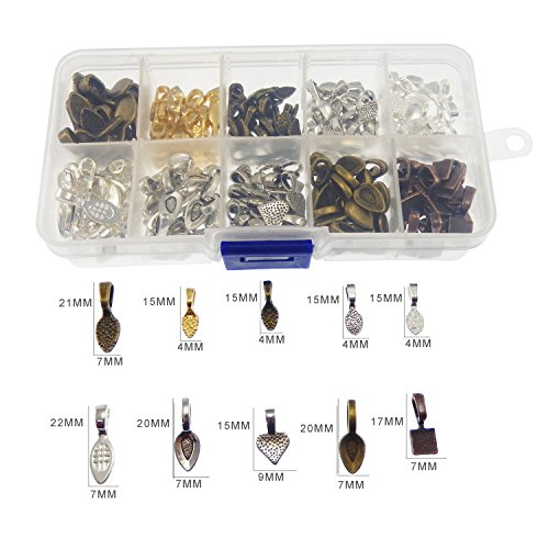 200pcs Mixed 10 Styles Tibetan Silver Bronze Gold Glue on Bail Tag for Jewelry Making Crafting
