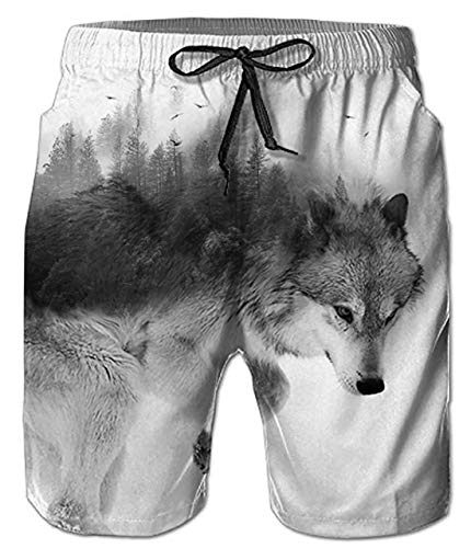 (Uideazone 80s Men Plus Size Swim Trunks Adults Wolf Printed Board Shorts Adjustable Drawstring Beach Shorts with Mesh Lining)