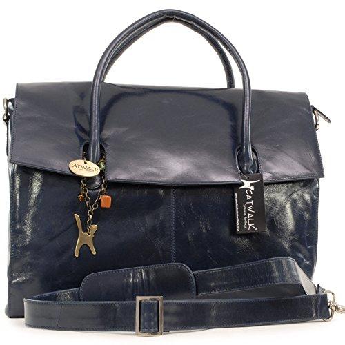 Catwalk Collection Over-Sized Laptop Bag - Vintage Leather - Helena Navy