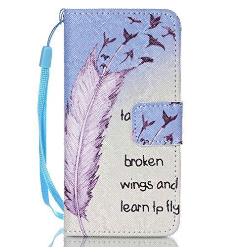 iPod Touch 5 Case, iPod Touch 6 Cover, Jenny Shop Fashion Flip Wallet Pu Leather Cover with Credit Card Slots Cash Pocket Stand Function with Wrist Strap (Learn to Fly)