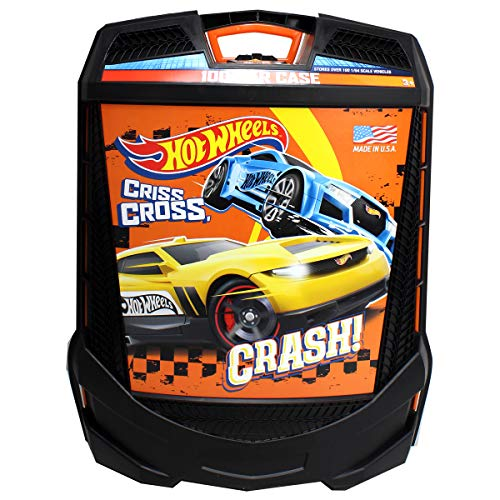 Hot Wheels 100-Car, Rolling Storage Case with Retractable - Car Toy Carrier