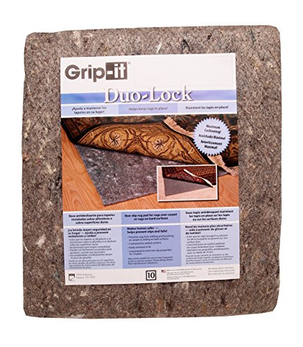Grip-It Duo Lock Premium Cushioned Dual Purpose Non-Slip Pad for Rugs on Hard Carpeted Floors, 5' by 7' (Premium Lock Rug Pad)