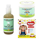 California Baby Calming Botanical Moisturizing Cream 2oz Bundle with California Baby Non-Burning & Calming Diaper Area Wash/Spray and HUGGIES Simply Clean Baby Wipes, Unscented 704 Wipes