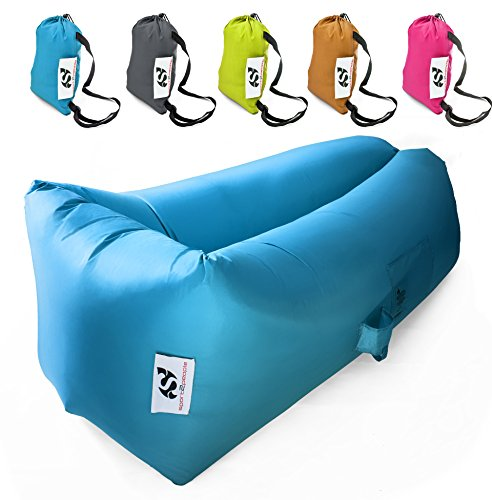 Outdoor Hangout Lay Bag – Inflatable Laysack Bed – Air Chair Lounger – Lazy Portable Sofa – Made from Durable Nylon – Most Comfortable with Unique Wide Lying Area