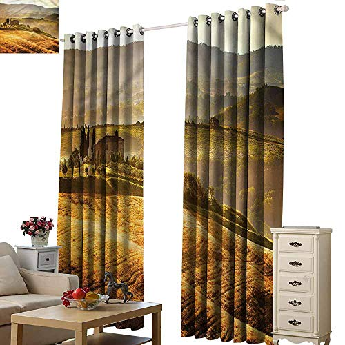 (Beihai1Sun Custom Curtains Tuscan Siena Old Country Pathway Hipster Patterned W72x96L)