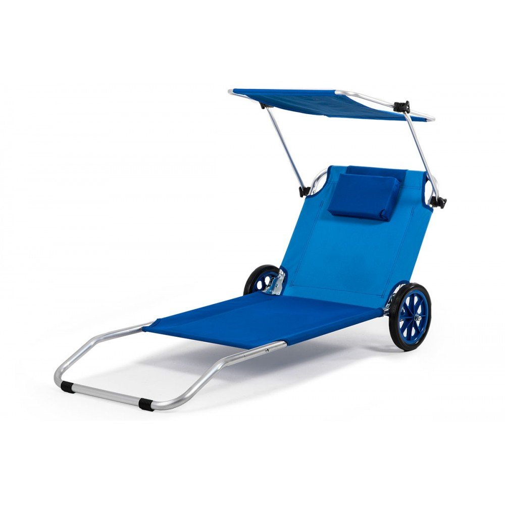Silla de Playa Plegable Malibu Tumbona + sombrilla incorporada: Amazon.es: Hogar