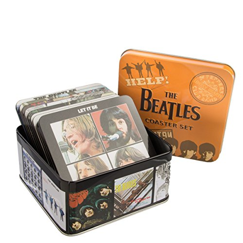 Revolver Album Cover - Vandor Products (10 Piece) The Beatles Album Covers Drink Coasters Set Wood & Cork With Holder Tin Box