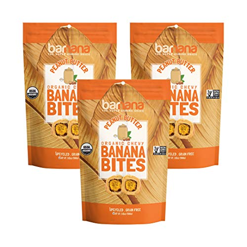 (Barnana Organic Chewy Banana Bites - Peanut Butter - 3.5 Ounce, 3 Pack Bites - Delicious Barnana Potassium Rich Banana Snacks - Lunch Dinner Sports Hiking Natural Snack - Whole 30, Paleo, Vegatarian)