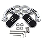 Motorcycle Highway Foot Pegs + Stream-liner Footrest Kit for Harley 1 1/4'' 32mm Engine Guard (Chrome and Black)