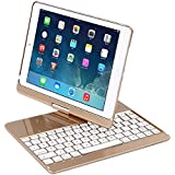 "iPad Case with Keyboard for 2018&2017 New iPad 9.7""/Pro 9.7/Air2/Air,YOUNGFUN Bluetooth Wireless Keyboard Backlit Tablet Carrying Holder Auto Sleep/Wake Flip Rotate Slim Folio Smart Cover (Gold)"