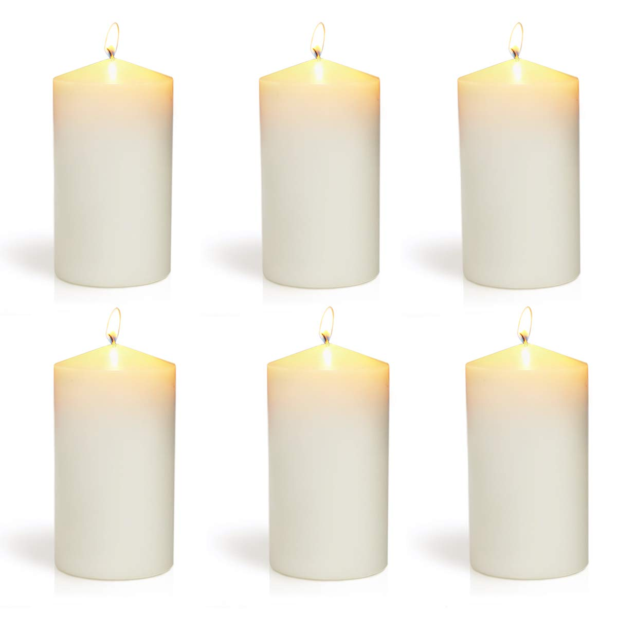 XYUT 3x6 Set of 6 Ivory Pillar Candles Aprox 3x6 inches
