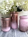 Metallic Rose Gold and Pink Painted Mason Jars, Rustic Centerpiece for Table, Set of 3 Review