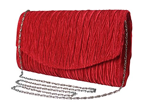 Peach Couture Womens Vintage Satin Pleated Envelope Evening Cocktail Wedding Party Handbag Clutch (Red) (Satin Evening Clutch)