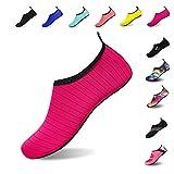 Mens Womens Water Shoes Barefoot Beach Pool Shoes Quick-Dry Aqua Yoga Socks for Surf Swim Water Sport (Red, 40/41EU)