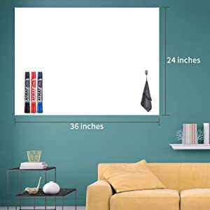 "White Board Paper, Dry Erase Wallpaper, Peel and Stick Dry Erase Board, 36"" x 24"" Self Adhesive White Board Wall Paper for Kids Home & Classroom, Whiteboard Sticky Paper with 3 Markers, No Ghost"