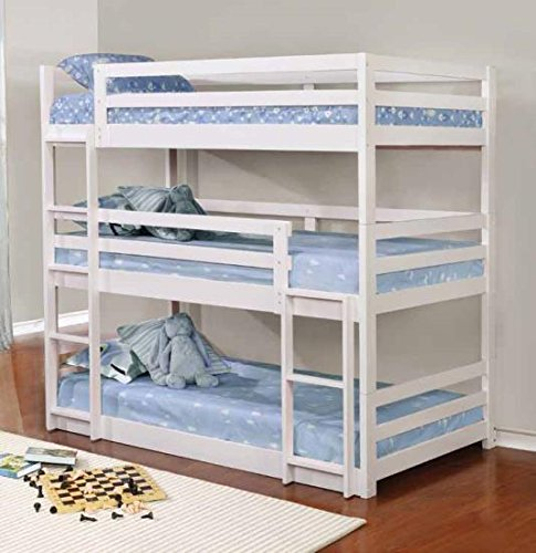 Coaster Triple Bunk Bed (White), 401302 by Coaster home Furnishing