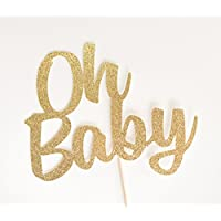 Gold Glitter 'Oh Baby' Cake Topper, Script, Baby Shower, Gender Reveal, Sip and See