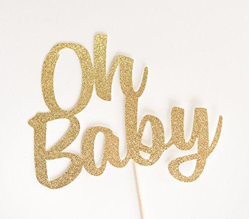 Gold Glitter 'Oh Baby' Cake Topper, Script, Baby Shower, Gen