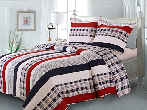 Greenland Home Fashions Nautical Stripes Quilt Set, Full/Queen