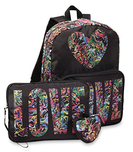 Confetti Love 3 Piece Girls Backpack Set - Large Backpack,Tablet Case & (Love Panthers)