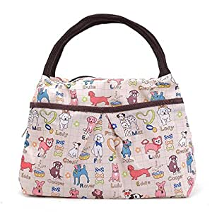 ZXKE Cartoon Print Design Women Bag Lunch Bag Tote (Dogs beige)