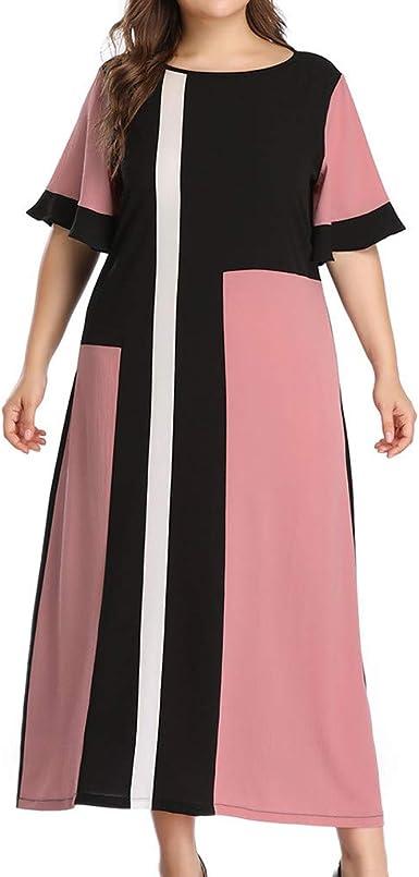 Vestido De Mujer De Verano Elegante Para Boda Tallas Grandes A La Moda Para Mujer Gasa Plus Tamano Cuello Color Bloc Mangas Cortas Banda Para La Toslsino Vestido Amazon Es Ropa Y