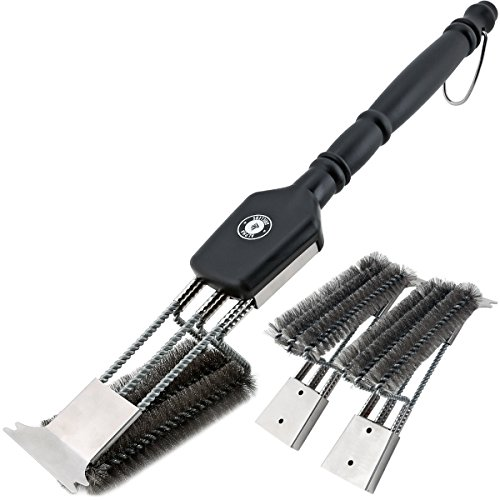 "18"" Grill Brush With Scraper. UNIQUE 3 REPLACEABLE HEADS DESIGN. Best BBQ Cleaner. Safe For All Grills. Durable Stainless Steel Wire Bristles. A Perfect Grilling Gift For Barbecue Lovers."