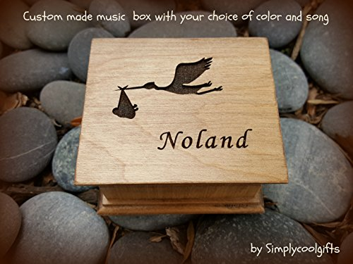 Custom engraved music box with your name and a stork with baby engraved on top with your choice of color and song