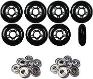 Outdoor Inline Skate Wheels 80MM 89a Black x8 W/ABEC 9 Bearings