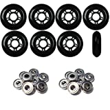 Player's Choice OUTDOOR Inline Skate Wheels 76MM 89a BLACK x8 W/ABEC 9 BEARINGS