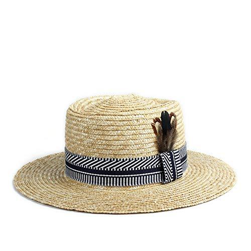 - YUXUJ Sun Hat Classic Men Women Straw Cap Summer Cloth Decoration Peacock Feather Decoration Beach Panama Hat (Color : Black, Size : 56-58CM)