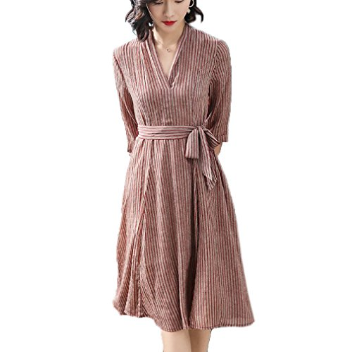 Neck Belt cotyledon V Dress Sleeve 4 Dresses line 3 Stripe A Womens with xq6rHq7a0