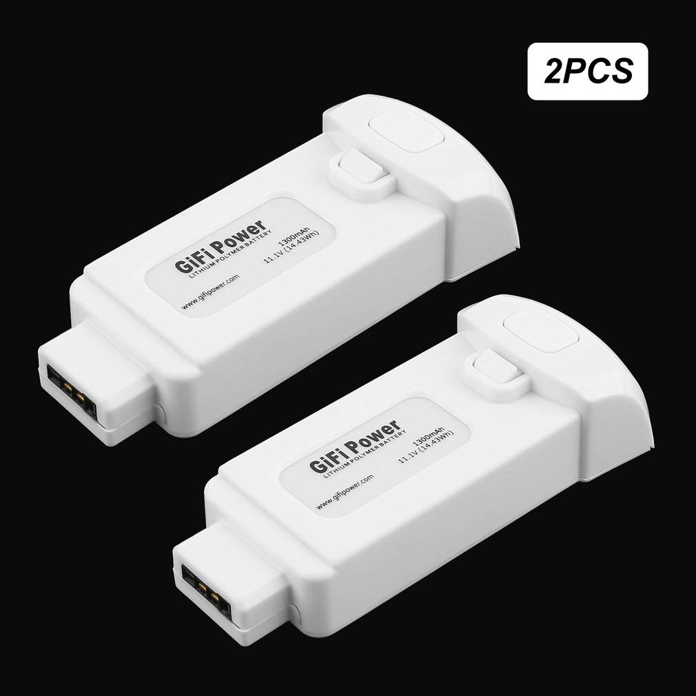 FairytaleMM 2 Pc 11.1V 1300mAh Batería de polímero de Litio de 14.43Wh para Yuneec Breeze Drone (Color: Blanco)
