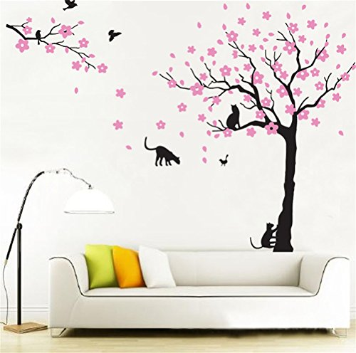 Fymural Cats and Flowers Tree Wall Stickers