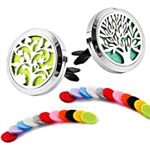 2 Pack Premium Aromatherapy Essential Oil Car Diffuser with 22 Replacement Felt Pads — Stainless Steel Air Freshener Locket Upgrade Car Diffuser Vent Clip, Tree and Cloud Tree